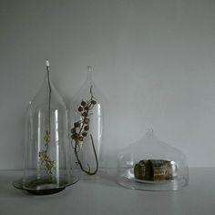 bottleのかたちをしたガラスドーム 上から吊り下げてドライフラワーなんかを飾る感じがおすすめです。 通常は底に木の板をオマケでつけているのですが、ドームだけやガラスの器を合わせると繊細さが増してキレイな気が◎ 遊びゴコロ満載なフードドームなんかも作ってみました。たまにはこんなのもあると食卓が楽しくなりそうです。 #蠣崎マコト #ガラス #フードドーム #ガラスドーム