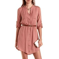 charlotte russe | Button-Up Belted Shirt Dress | this dress can be worn for casual or add a couple of accessories and you are good for the evening too.