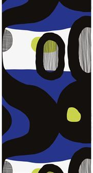 The beautiful large patterned Mustekala fabric � �octopus� in English � comes from Marimekko is available in three color combinations with blue, green and grey base.