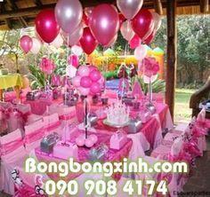 Bàn tiệc sinh nhật chủ đề màu hồng MB05 được sử dụng chủ yếu là các bong bóng bay để trang trí. Sản phẩm trang trí vô cùng xinh đẹp với chủ đề màu hồng dành cho sinh nhật các bé gái ------------ Liên hệ giá: 090.908.4174
