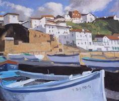 Este cuadro al óleo trata del puerto viejo de Algorta en Getxo. Una escena marinera típica del Pais Vasco donde se pueden ver las embarcaciones de pesca.Este cuadro lo ha pintado el artista Rubén de Luis para su serie de pinturas sobre el País Vasco.