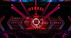 Techombank Futuristic on Behance Tv Set Design, Stage Set Design, Booth Design, Dance Stage, Stage Show, Plateau Tv, Concert Stage Design, Stage Lighting Design, Corporate Event Planner
