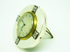 Silver Clock Sterling Mechanical Wind Up SWISS by DartSilverLtd