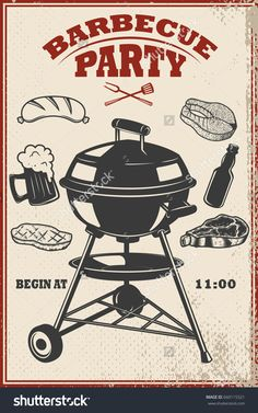 Barbecue party flyer template. Grill, fire, grilled meat, beer, butcher tools. Design elements for poster, restaurant menu. Vector illustration Sales Image, Bbq Party, Smoking Meat, Grilled Meat, Party Flyer, Menu Restaurant, Reusable Bags, Flyer Template, My Images