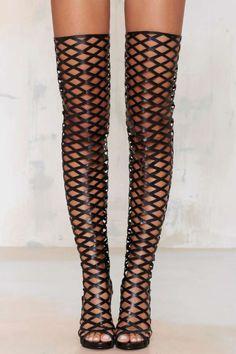 Fixx Caged Knee-High Heel - Shoes | Pumps | Heels
