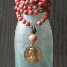 joan of arc or jeanne d'arc on pink variscite by forgivingworks,