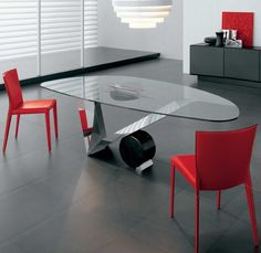 Dining table is not only necessary element of any dining room but also the most important part of its interior design. Dining table is usually placed in Glass Dining Room Table, Dining Room Colors, Dining Table Design, Modern Dining Table, Dining Room Sets, Dining Table Chairs, Dining Furniture, Modern Furniture, Furniture Design