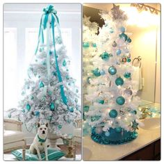 White and Tiffany blue Christmas tree on bathroom counter (picture on the right) inspired by pin from stagetecture.com (picture on the left). Spray paint Dollar Tree ornaments with Krylon Carolina Blue to get the perfect Tiffany blue color!