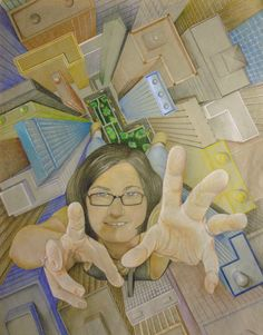Prismacolor pencil- perspective & foreshortening - Cindy Brunk