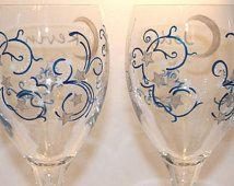 Celestial Wedding Wine Glasses, Stellar, Stars, Moon, Night Sky, Equinox, Astrology, Fantasy, Astronomy