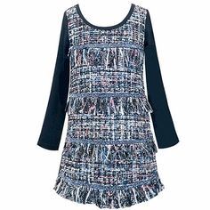 Hannah Banana Black Dress in Tweed for Girls PREORDER