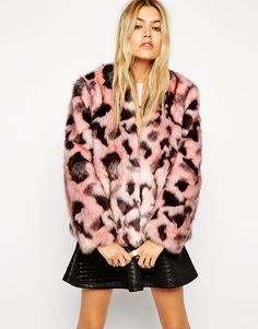 Image 1 ofASOS Faux Fur Jacket in Abstract Animal