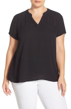 Sejour Split Neck Short Sleeve Blouse (Plus Size) available at #Nordstrom