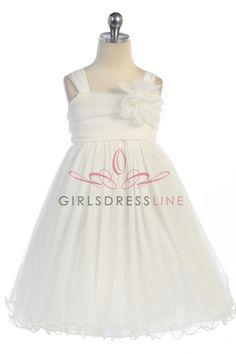 Ivory Soft Tulle Gathered Flower Girl Dress with Short Sleeves KD-298-IV on www.GirlsDressLine.Com