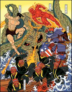Comic characters in classic Japanese style and more! Marvel Comics Art, Marvel Heroes, Flash Comics, Arte Nerd, Joker Poster, Marvel Cards, Graffiti, Japan Art, Marvel Characters