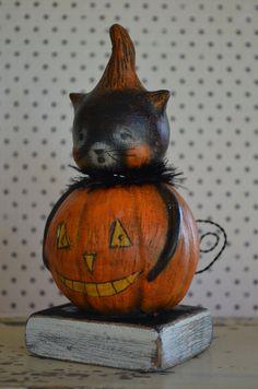 Halloween Black Cat JOL Folk Art