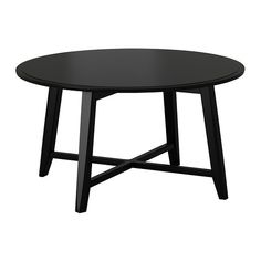 IKEA - KRAGSTA, Coffee table, black, , The round shape gives you a generous table top for trays, coffee or tea services. The dimensions make the table easy to place in the room. The table legs are made of solid wood, a durable, natural material.The included plastic feet protect the floor from scratches.