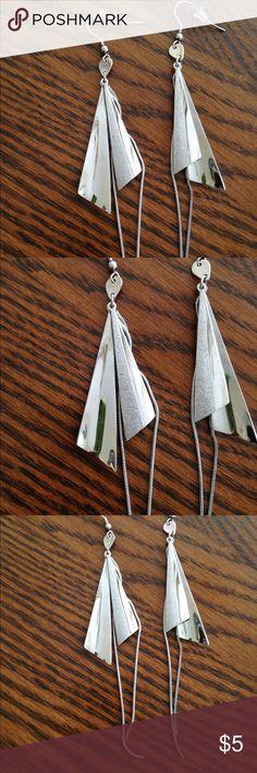 "Silver Dangle Earrings ~Fashion "" 4 Inches Long Silver Dangle Earrings ~Fashion "" 4 Inches Long Jewelry Earrings"