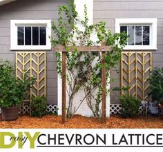 Creative Ways to Increase Curb Appeal on A Budget - Easy DIY Chevron Lattice Trellis Tutorial - Cheap and Easy Ideas for Upgrading Your Front Porch, Landscaping, Driveways, Garage Doors, Brick and Home Exteriors. Add Window Boxes, House Numbers, Mailboxes and Yard Makeovers http://diyjoy.com/diy-curb-appeal-ideas