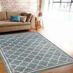 Trellis Contemporary Modern Design Blue Area Rug (7'10 x 10'2)