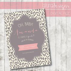 Animal Print Baby Shower Invite- Girl Baby Shower Invite - DIY Printable Baby Shower Invite