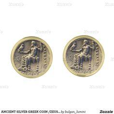 ANCIENT SILVER GREEK COIN /ZEUS HOLDING AN EAGLE GOLD CUFFLINKS