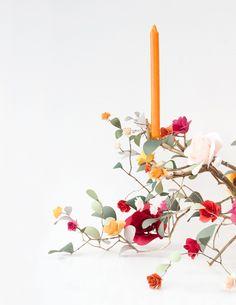 Paper rose branch candelabra