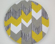 Mouse Pad mousepad / Mat - Rectangle or round - Big Chevron Yellow zig zag - Desk Accessory