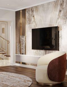 Tv Unit Interior Design, Home Design Decor, Home Room Design, House Design, Modern Tv Room, Living Room Modern, Ceiling Design Living Room, Living Room Designs, Tv Cabinet Wall Design
