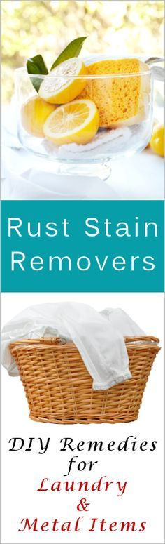DIY rust stain removal from laundry, carpets, toilets & sinks.  Crean of Tartar & Hydrogen Peroxide made into a paste, apply & rinse.  Borax & Lemon Juice, or Salt & lemon juice, are some to try