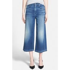 7 For All Mankind Denim Culottes (845 CNY) ❤ liked on Polyvore featuring shorts, medium broken twill, frayed shorts, frayed denim shorts, denim shorts, 7 for all mankind and 7 for all mankind shorts
