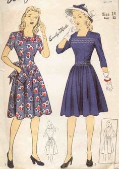 Vintage 1950 Princess Style Dress Sewing Pattern, Puffed Sleeves Low Neckline, Sash, Simplicity 4186