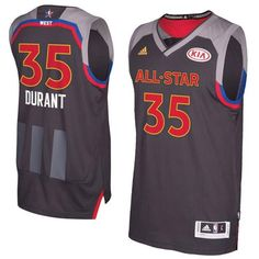 Warriors #35 Kevin Durant Charcoal 2017 All Star Stitched NBA Jersey