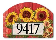 Magnet Works Yard DeSigns Yard Sign - Red Barn Sunflowers Design Address Plaque at GardenHouseFlags