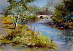 Artwork >> Breton Michel >> by the river side Dry Pastels, Pastel Art, Art Plastique, Oeuvre D'art, Birthday Cards, Artsy, Ink, River, Landscape