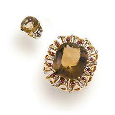 A set of retro gem-set, diamond and fourteen karat gold jewelry,