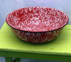 Huge red Marbled Graniteware Enamel Ware Bowl by justbecauseshecan