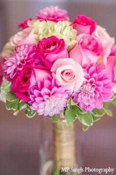 indian-wedding-boquet-pink-petals http://maharaniweddings.com/gallery/photo/2698 | pink and gold wedding