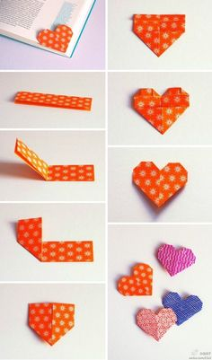Origami Heart Bookmark! This is so cute! Unique bookmark idea! So easy to make, too! #origamibookmark #heartbookmark #cutebookmark