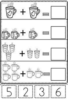 Numbers Preschool, Preschool Printables, Preschool Learning, Teaching Kids, Kindergarten Math Worksheets, Preschool Activities, Addition Activities, Kids Worksheets, Math Literacy