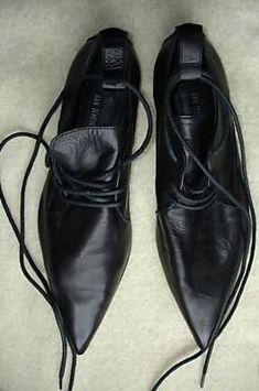 ann demeulemeester black leather shoes. I can see you wearing these creepy shoes.