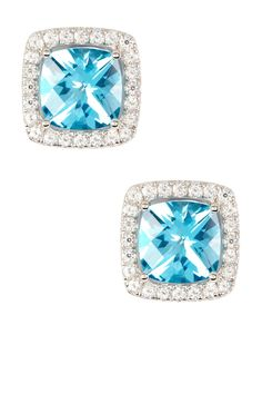 Swarovski Zirconia Jewelry Cushion Paraiba Blue Halo Earrings