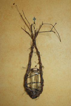 Grapevine basket planter/vaserustic flower vase by colonialcrafts, $24.00