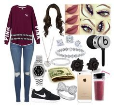 """""""Simple"""" by aaliyahsalmon ❤ liked on Polyvore featuring MAC Cosmetics, Marc by Marc Jacobs, Topshop, NIKE, Victoria's Secret, Beats by Dr. Dre, Finn, Rolex, Crislu and Michael Kors"""