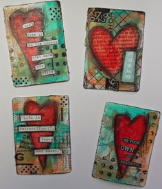creatingwiththegirls: Working my way through my deck of cards…. Mixed Media Cards, Mixed Media Collage, Playing Card Crafts, Playing Cards, Art Journal Pages, Journal Cards, Art Trading Cards, Atc Cards, Art Journal Techniques