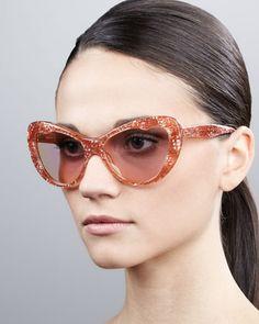 Miu Miu Glitter Cat-Eye Sunglasses - Neiman Marcus   love love loveeee them! b3d368bbb20da