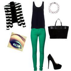 striped blazer green skinny jeans