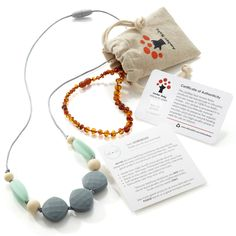 Love Love Love! The Perfect Gift Set for Baby. A gorgeous Amber Teething necklace for Baby and a BPA Free Silicone Teething Necklace for Mom to wear. Modern and Stylish for only $24.99 Ships Totally Free