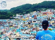 Livin' the life in Busan South Korea wearing this awesome lifestyle brand shirt! Busan South Korea, Branded Shirts, Tee Shirts, Tees, No Worries, Times Square, Park, Lifestyle, City