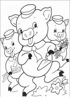 Tre små grisar Målarbilder för barn. Teckningar online till skriv ut. Nº 9